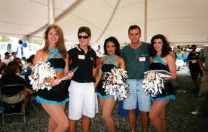 Mike & Mark with the Carolina Panthers cheerleaders