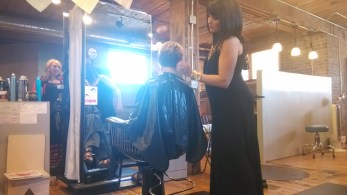 Katie's haircut with Kristie