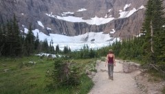 On the trail leading to the glacial lake at Glacier National Park