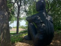 Visiting the Thinking Man overlooking Lake of the Isles, Minneapolis, MN, USA.