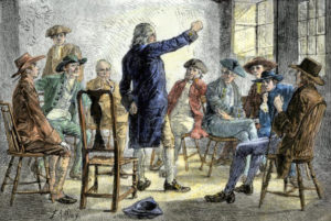 meeting-of-colonists-protesting-british-treatment-before-the-american-revolution