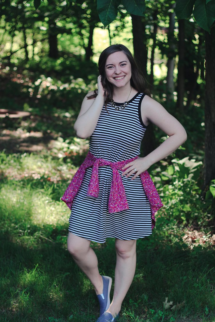 Striped Swing Dress Outfit for Summer