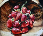 Swaziland Strawberries Watercolor Painting Michelle C. East