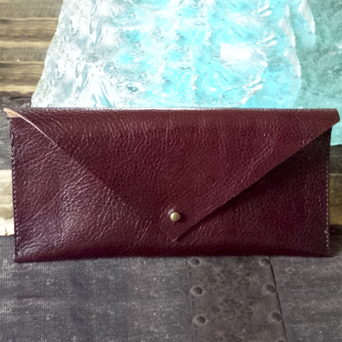 Leather Envelope Clutch – Oxblood – $45