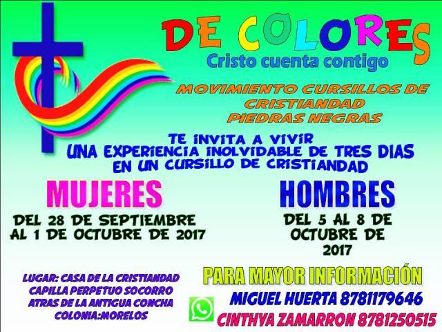 MOVIMIENTO CURSILLOS DE LA CRISTIANDAD TE INVITA A SU RETIRO EN PIEDRAS NEGRAS