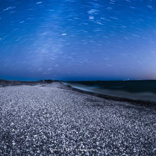 Star Trails over Sakonnet Point, in Little Compton, Rhode Island.