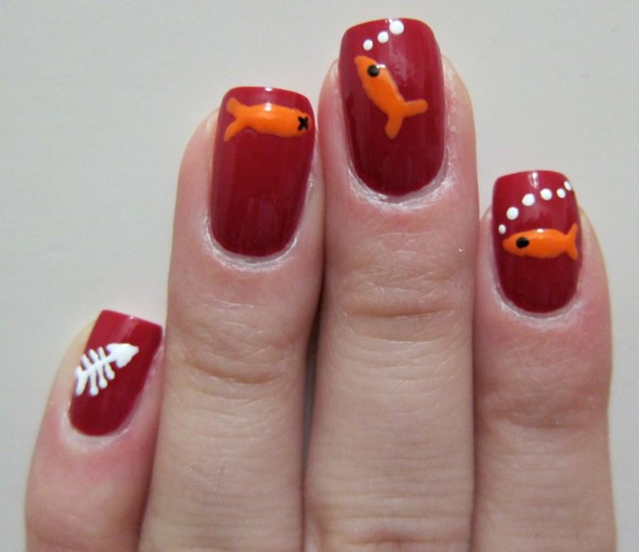 Fish nail art plague blood