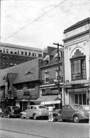 The buildings in a 1940 photo.
