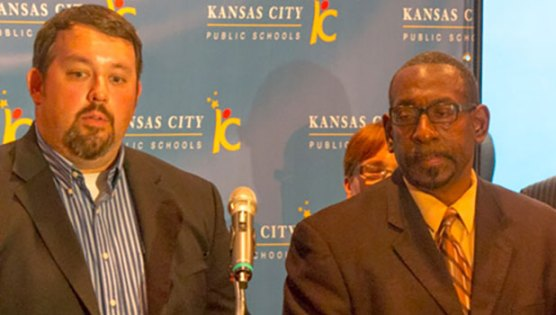 School board president Jon Hile and Superintendent Stephen Green took questions at a press conference yesterday after the school district regained provisional accreditation from the state.