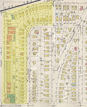 A Sanborn Fire Insurance Map shows the Troostwood area as it developed after the turn of the century.