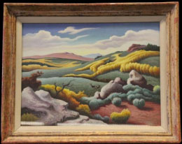 Image caption: Thomas Hart Benton, American (1889–1975). Utah Highlands, 1954. Gouache on paper mounted to board, 21 x 28 inches (53.3 x 71.1 cm). Lent by the Shawnee Mission School District, Shawnee Mission, Kansas. Art © T.H. Benton and R.P. Benton Testamentary Trusts/UMB Bank Trustee/Licensed by VAGA, New York, NY