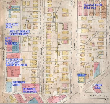 The 1909-1950 map of the block.