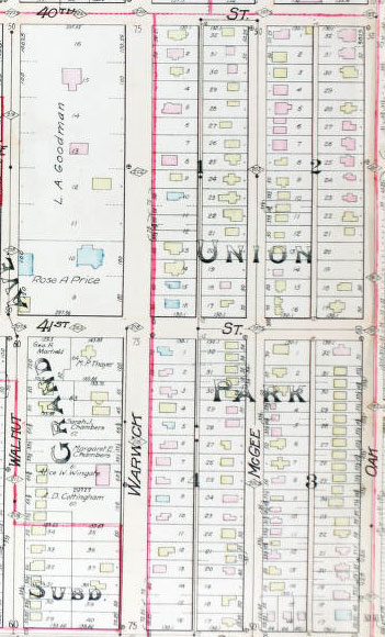 The 1907 Tuttle and Pike plat map of the block.