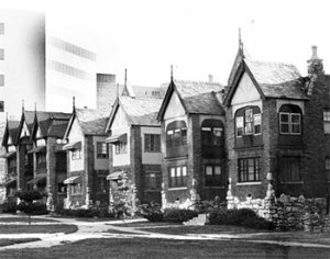 A 1989 view of the three apartments that may be headed for demolition.