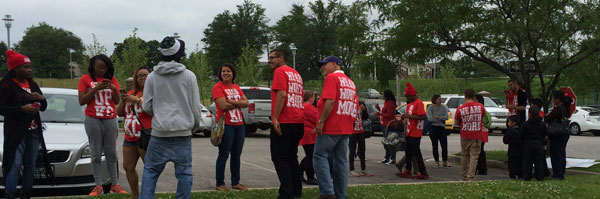 Participants arriving at the minimum wage committee hearing.