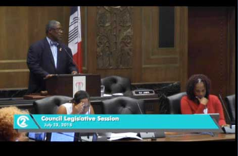 Mayor Sly James managed debate on the controversial housing project proposed by the Catholic Diocese.