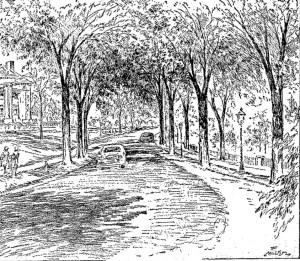 Cutline The Kansas City Star, in this 1945 drawing, captured Warwick from a spot facing north with the grounds of the Kansas City Art Institute on the right and a glimpse of the George E. Richards home to the left.