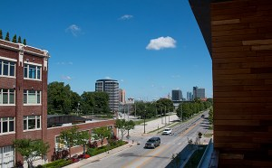 Balconies at Twenty9 Gillham offer views of downtown, Crown Center and Union Cemetery.