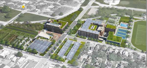 Sustainable Development Partners shared this vision of a redeveloped Westport High School and Middle School earlier this year.