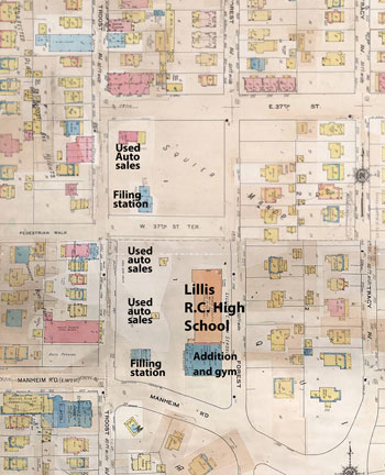 This 1909-1940  Sanborn Fire Insurance map shows the block when it was dominated by the Lillis High School. Troost Avenue was dotted with used cars lots and gas stations during this period.