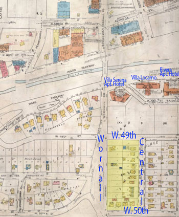 A 1917-1945 Sanfborn Fire Insurance map of the Plaza, showing the homes that stood on the block (highlighted in yellow) and the apartment hotels along Brush Creek.