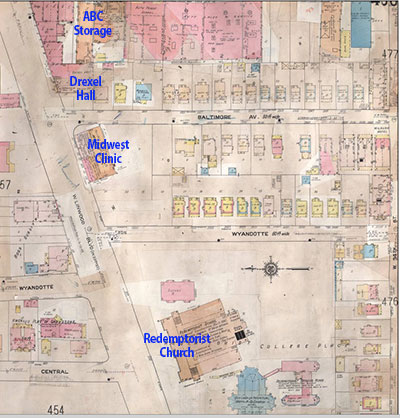 This 1909-1950 Sunburn Fire Insurance map shows Drexel Hall just east of Redemptorist Church.