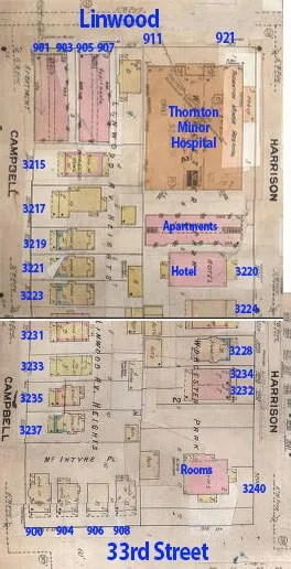 The block from Linwood to 33rd, from Harrison to Campbell, in a 1909-1950 Sunburn Fire Insurance map.