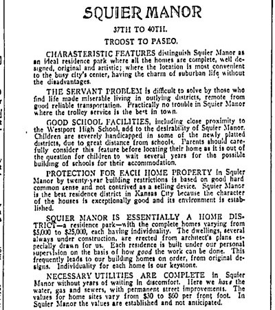 A 1909 Kansas City Star newspaper ad for Squire Manor.