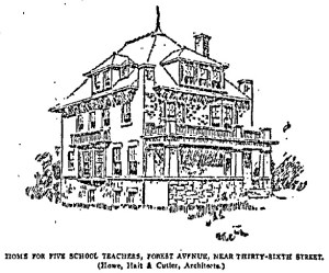 A sketch of the home from the 1904 newspaper article about the most important homes built that year.
