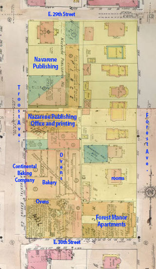 A map from 1909-1950 shows a transformed block, with Nazarene Publishing and the Continental Baking Company replacing former homes.