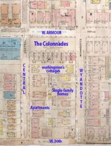 A 1909-1950 Sanborn Fire Insurance map of the block. The Colonnade dominates the landscape. Collins also built four small cottages to as a buffer on the south side of the building.