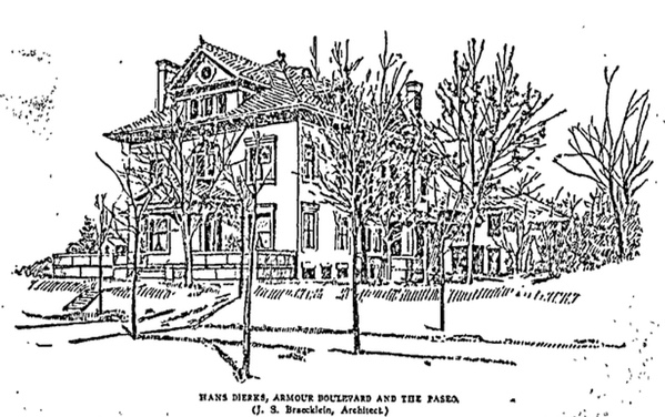 A 1905 sketch of the Dierks residence.