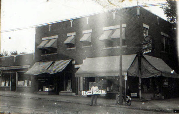 At the southeast corner of 43rd and Troost, James W. Hardacre operated a drug store around 1940. The building just to the north was a Piggly Wiggly grocery store in the late 1920s.