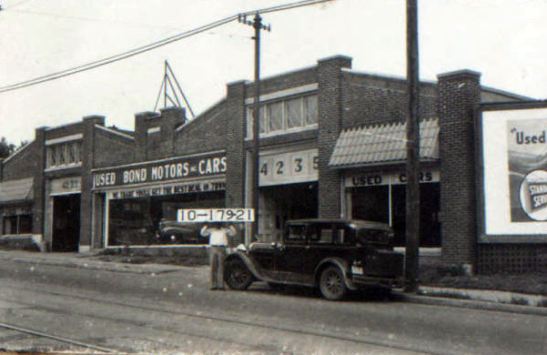 Like much of Midtown, this block was dominated by businesses selling and servicing automobiles beginning in 1920. The building at 4233 Troost saw an ever-changing stream of auto-related businesses until 1940, offering Kansas Citians a chance to buy used or new cars.