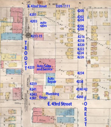 A Sanborn insurance map from 1909-1950 shows buildings on the block.