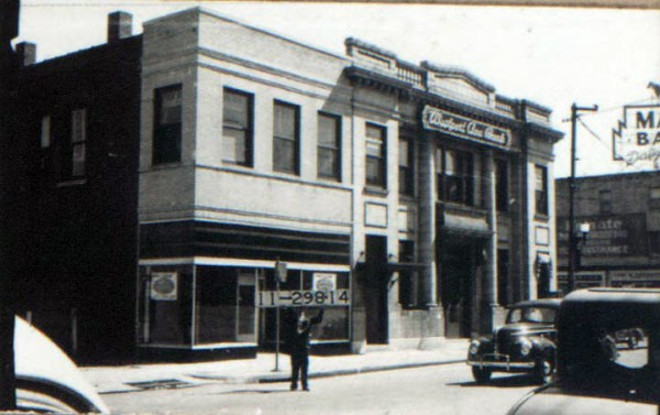 The bank at the corner of Westport Road and Broadway looks much the small today as it did in this 1940 photo. The block it occupies looks much the same as well. Although businesses have come and gone, the block has retained much of the same appearance it had in the early 1900s when most of its structures were built.