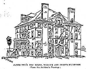 The Kansas City Star in 1906 pointed out the unusual features of the new Toll mansion, which included a lack of ornamentation on the outside, hot water heat and seven bathrooms.