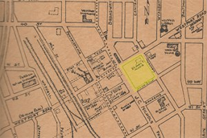This map of old Westport shows the main cluster of businesses at Westport Avenue and Pennsylvania. The only building shown in this week's featured block was the home of physician Joel Morris.