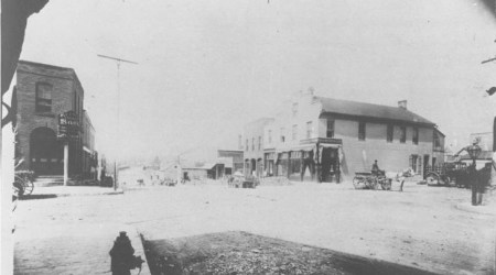 The block in 1885, looking northwest from the corner of Pennsylvania and Westport Road.