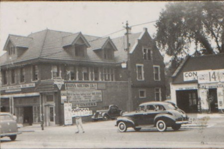 White Gables in 1940, after it had been moved to Main Street and converted into a commercial building.