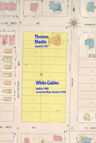 White Gables took up the entire southern end of the block, while Thomas Mastin's mansion took up the north in this 1895-1909 Sanborn map.