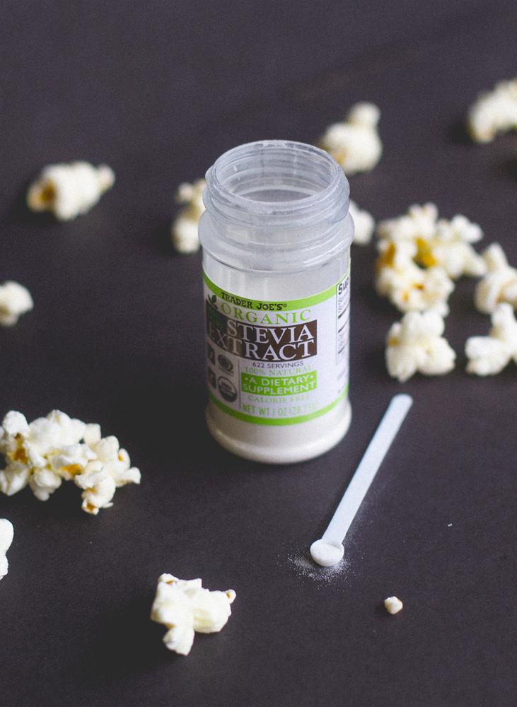 stevia + popcorn = yum