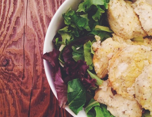 cauliflower patties on arugula | midwestlovefest.com