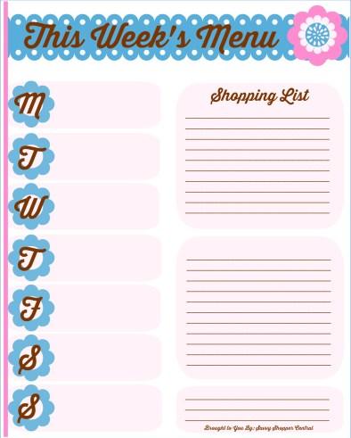 Blank meal plan & shopping list