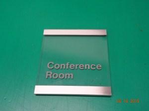 Clear acrylic with brushed aluminium trim sign Image