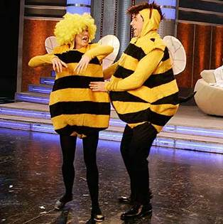 "Renée Zellweger y Jerry Seinfeld promocionando ""Bee movie"""