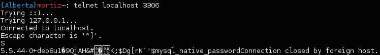 Telnet al puerto de MySQL en mi PC (local)