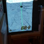 Projection onto the sweatshirt clipped and taped to the kid's drawing easel.  It's a bit hard to see the thin lines. I used a small white card to find them. Once found, they where visible enough to trace.