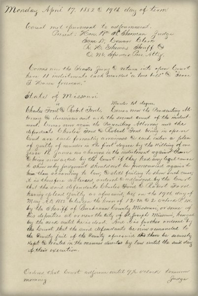 Jesse James court document, Ford brothers sentencing (Thumb)