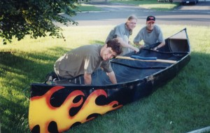 Prepping the SportsPal canoe for ACTION!